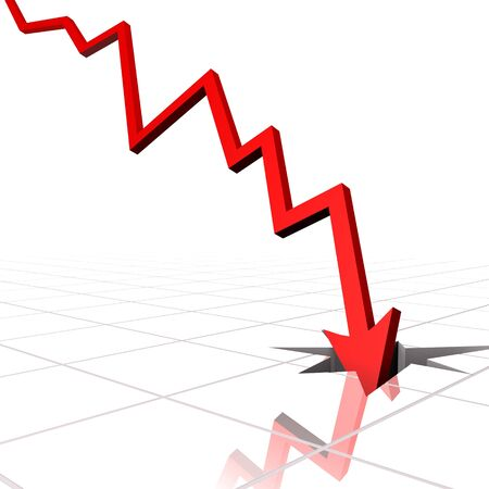 financial crisis: illustration of an arrow going inside the crack