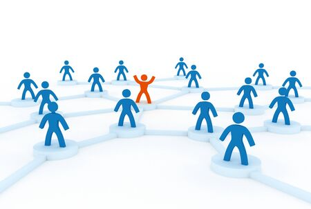 3d network concept with people photo