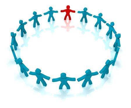 companionship: 3d ilustración de la gente de pie en el círculo