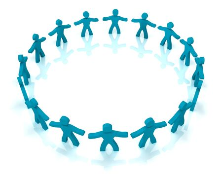 collectives: 3d illustration of people standing in circle