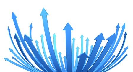 flecha azul: ilustraci�n de un manojo de flechas hacia arriba y alcanzar Foto de archivo