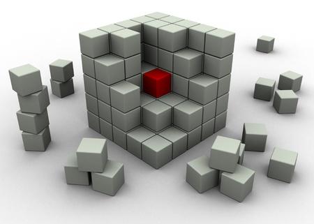 illustration of revealing the middle block illustration