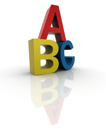 3d illustration of the first three letters of the alphabet Stock Illustration - 11585551