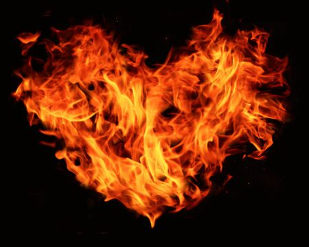 constructed: heart shape constructed from flames