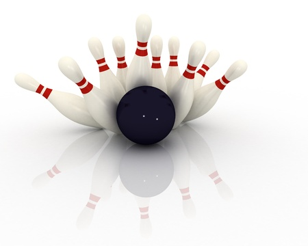 impact: 3d bowling concept isolated on white background