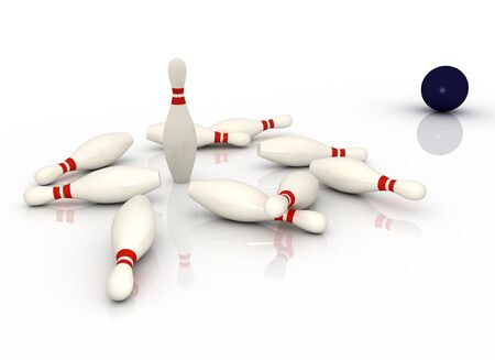 3d bowling concept isolated on white background photo