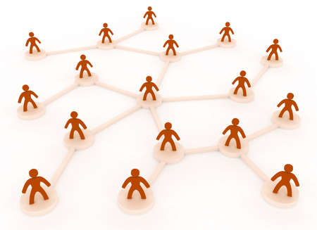human chain: 3d people network concept