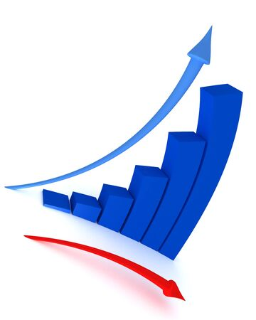 shrinking: 3d graph with directional arrows Stock Photo