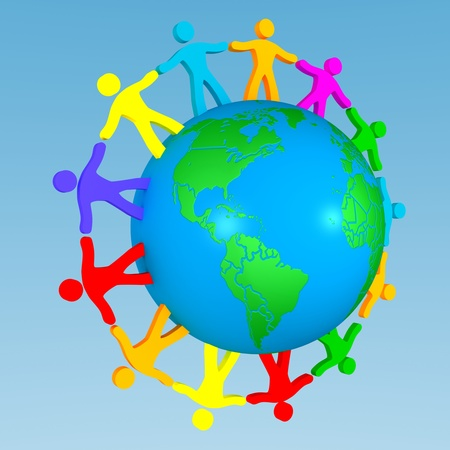 multinational: people around the globe illustrating union of differences Stock Photo