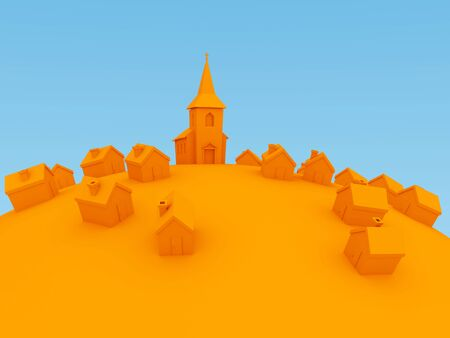 rural community: 3d orange cartoon villiage Stock Photo