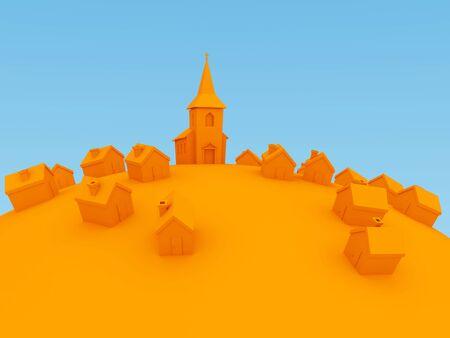immobile: 3d orange cartoon villiage Stock Photo