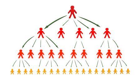 hi�rarchie: boom bedrijfsnetwerk concept, 3d illustratie