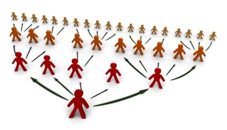 piramide humana: �rbol de la red empresarial concepto, ilustraci�n 3d