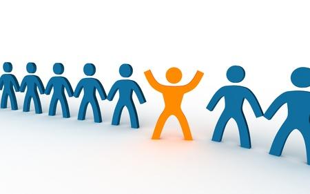 lideres: ilustraci�n de la persona diferente en una fila Foto de archivo
