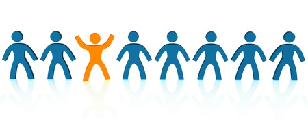 unique  difference: illustration of the different person in a row Stock Photo