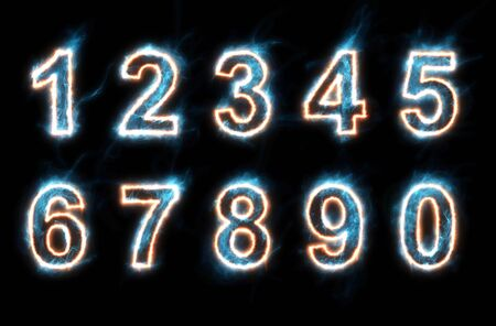 set of glowing electric numbers Stock Photo - 11585395