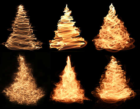 collection of abstract fiery christmas trees photo
