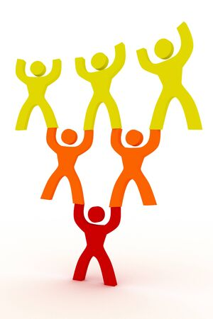 leading: people helping each other symbol illustration Stock Photo