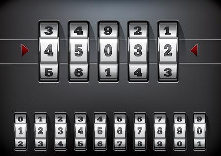 contadores: ilustraci�n vectorial de una cerradura de combinaci�n conjunto con todos los diez n�meros