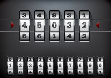 vector illustration of a combination lock set with all ten numbers Vector