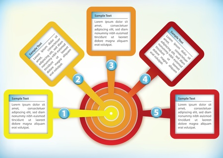 catalog: Plantilla de presentaci�n con cuatro cuadros de texto en un c�rculo