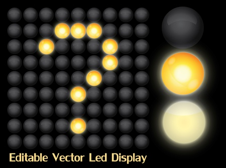 Easily editable Led display board with two light options Vector