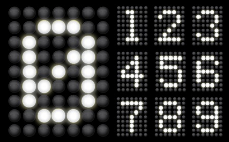 White Glowing Led Display collection of numbers Vector