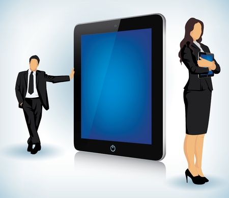 electronic device: illustration of a Tablet device with two business people Illustration
