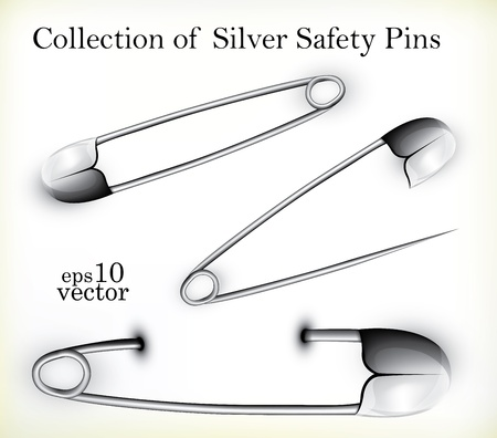 Collection of opened and closed Silver Safety Pins Stock Vector - 11862586