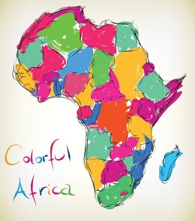 Hand-drawn illustratie van de kaart van Afrika