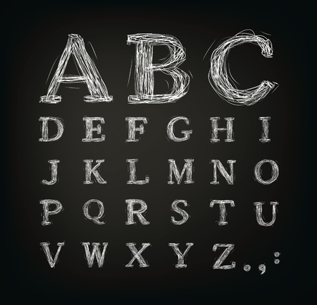 scribbled alphabet in a black board