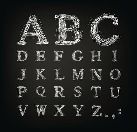artistic font: scribbled alphabet in a black board