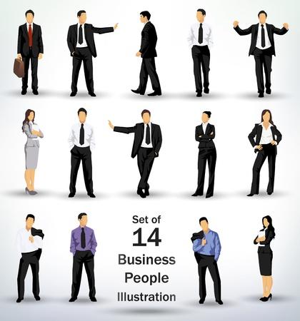 Collection de gens d'affaires dans différentes poses