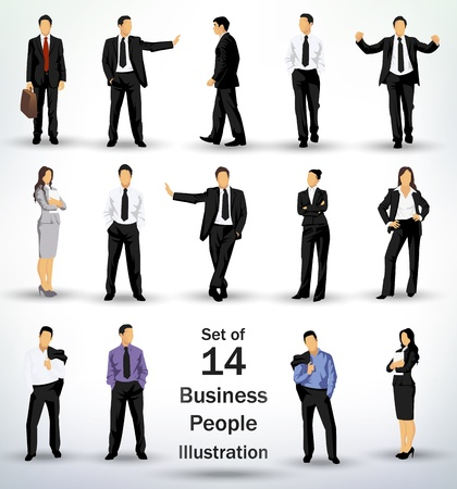 Collection of business people in different poses Vector