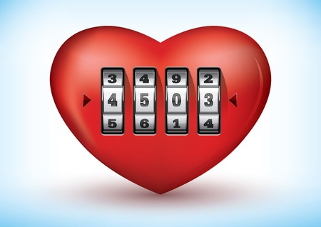 secret love: illustration of a heart with a combination lock