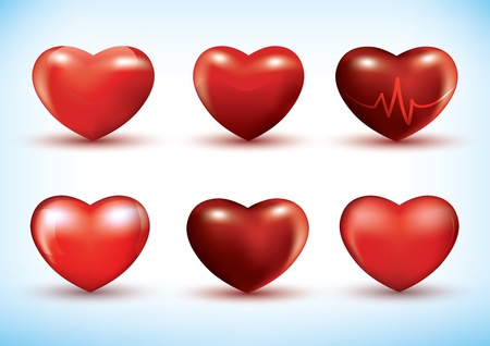 Set of six different red 3d hearts