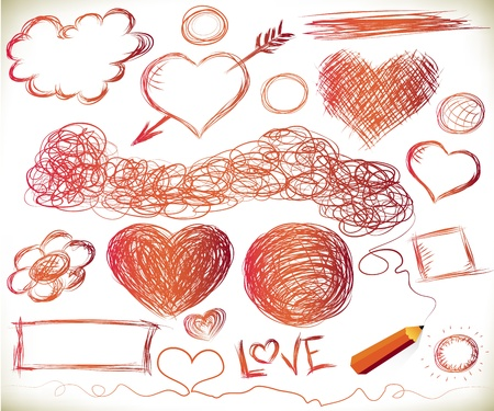 Handdrawn hearts, and other doodled elements with a pencil Vector