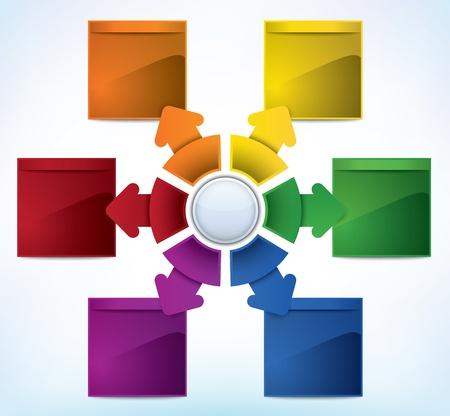 diagrama procesos: Plantilla de presentación multicolor con múltiples direcciones y el lugar para el texto