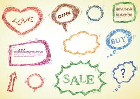 doodled design elements, speech bubbles, heart, frames Vector