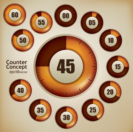 Counting device design set with twelve steps Vector