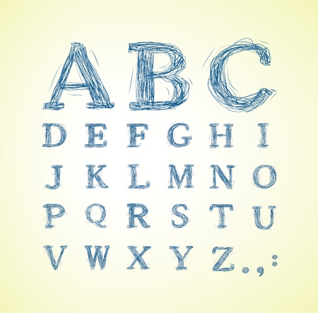 hand written: Hand drawn alphabet set - vector illustration
