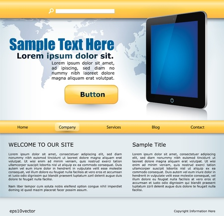 wold map: vector website design template with mobile device