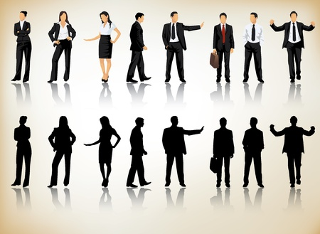 Collection of business people silhouettes in different positions Vector