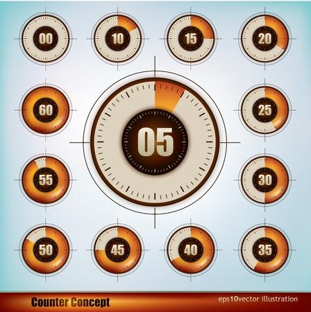cronometro: Colecci�n de iconos de temporizador de dise�o en incrementos de cinco minutos