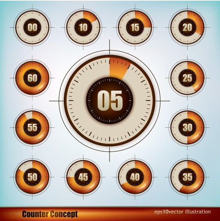 Collection of timer icons design in five minutes increments