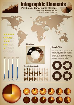 five elements: Infographic elements. A wold map with placeholders, demographic elements, charts, diagrams Illustration
