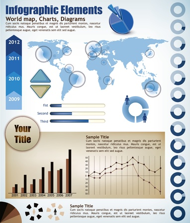 Collection Infographic elements, a wold map with placeholders, charts, diagrams Vector