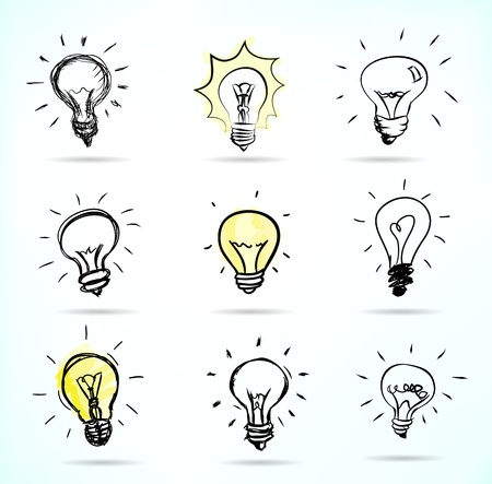 bombilla: Bombilla de luz dibujado a mano ilustraciones