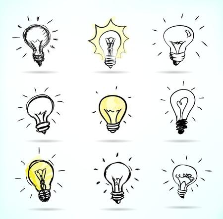 lightbulb idea: Illustrazioni disegnate a mano lampadina Vettoriali