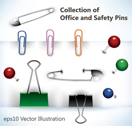 Collection of office pins, clips, and safety pins